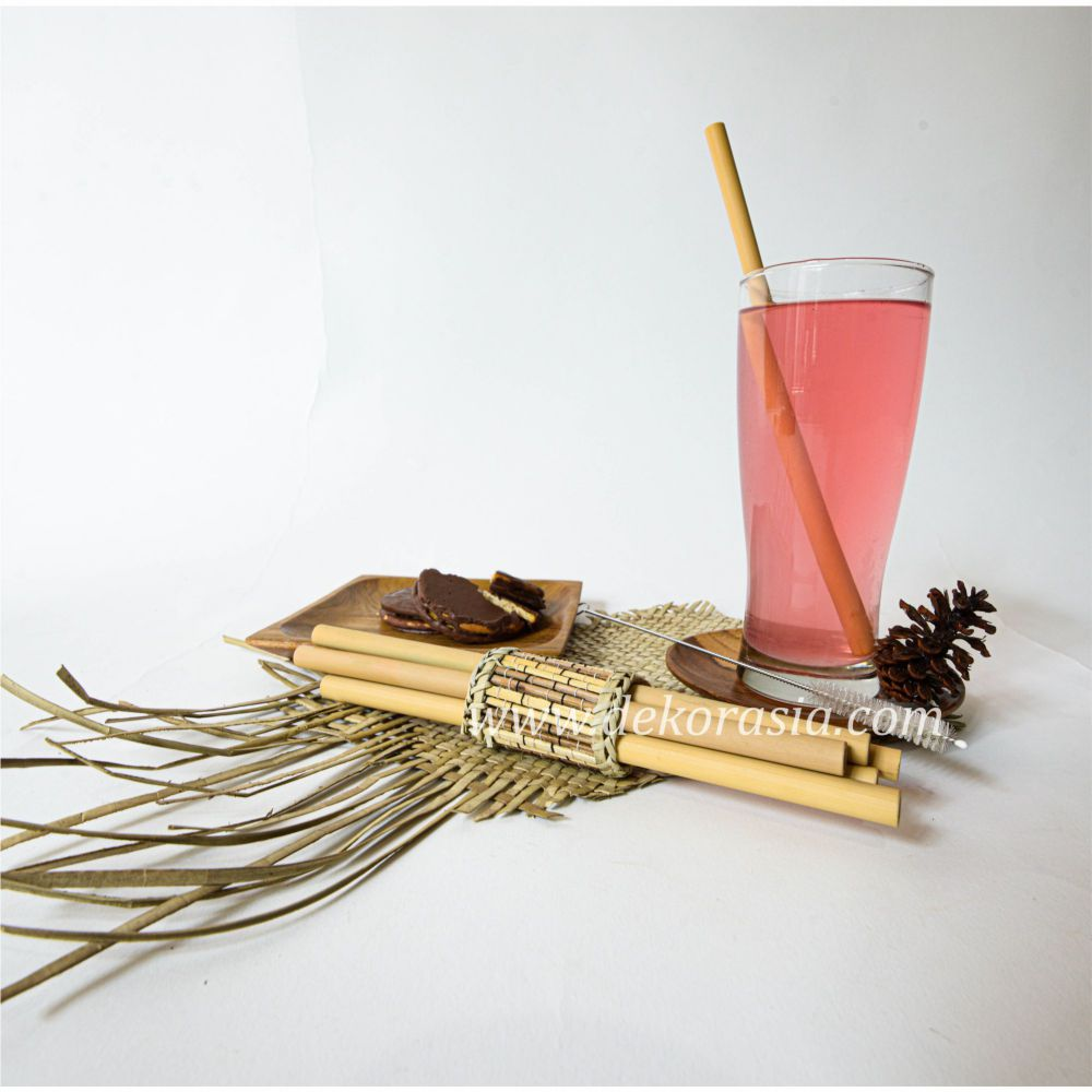 Bamboo Straw Set with Bamboo Napkin Ring Type C