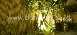 Natural Bamboo Fence Rolls Installation – Night